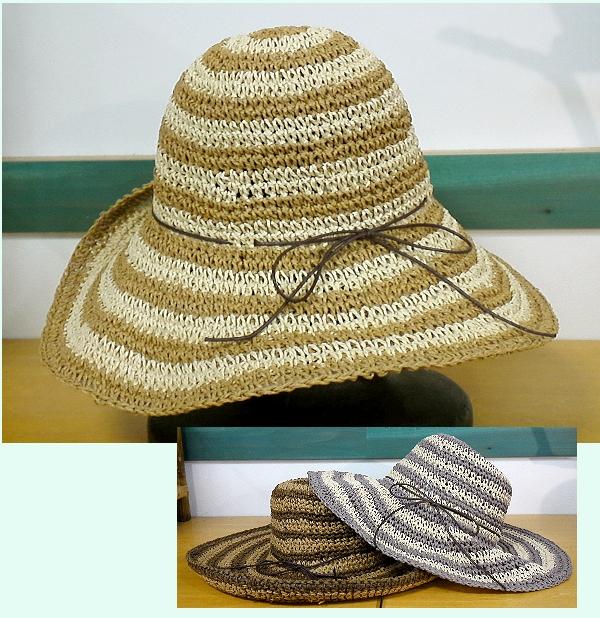 こま編みボーダー 帽子 ¥1995