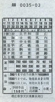 14士幌線車内券