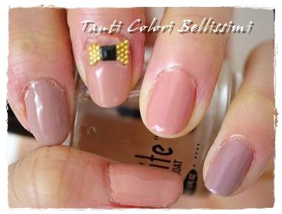 ピンクベージュ5種盛りネイル