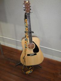ひまわり柄のギターストラップ