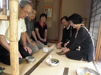 岡山友人宅で茶会