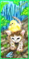 子猫とヒヨコとちびカエル