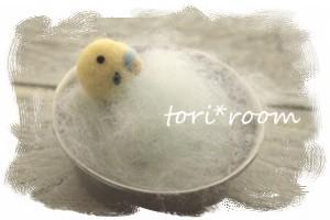 羊毛フェルト インコちゃんのお風呂