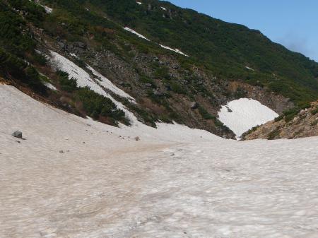 安政火口下り沢は雪で埋もれている