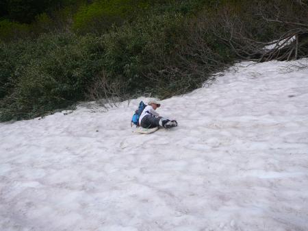 登頂後だから、多少濡れてもいいかな?