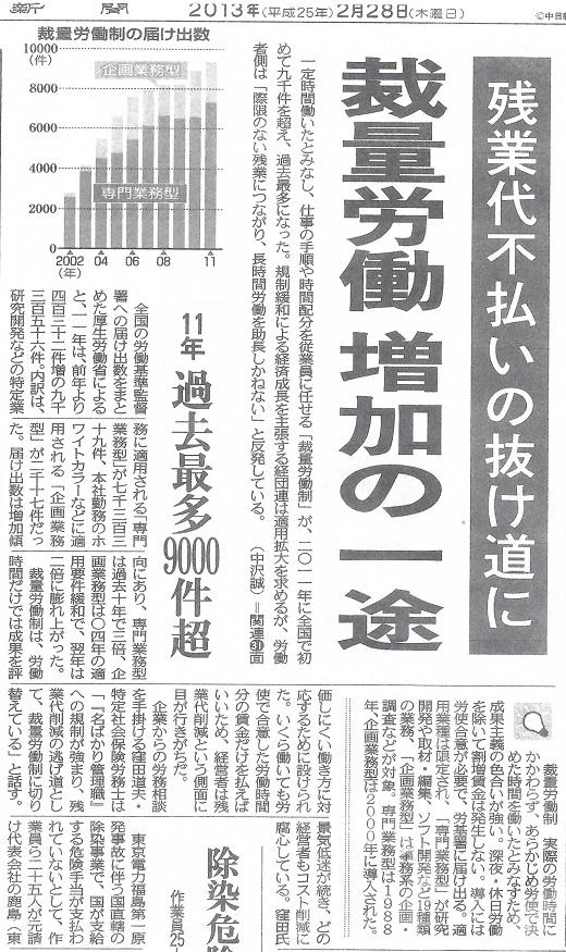 30 東京新聞 裁量労働1