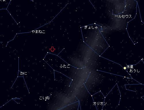 201212 13~14 ふたご座流星群星図14日2時
