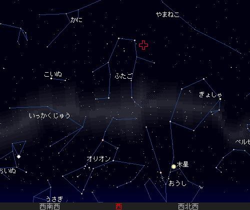 201212 13~14 ふたご座流星群星図14日5時