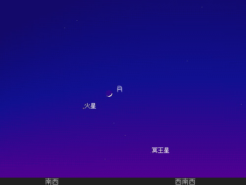 201212 15 夕空で細い月と火星を星図