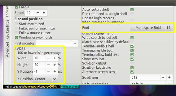 AltYo Ubuntu 端末エミュレーター 設定 ウィンドウサイズ