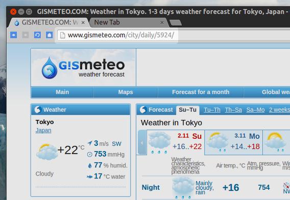 Gis Weather Ubuntu 天気 ウィジェット GISMETEO コードを調べる