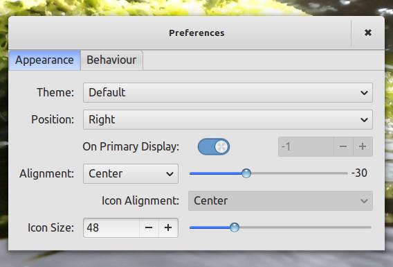 Plank 0.7 Ubuntu ランチャー 設定画面