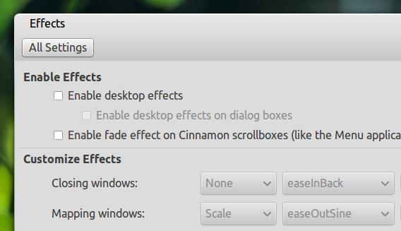 Ubuntu 14.10 Cinnamon システム設定 効果