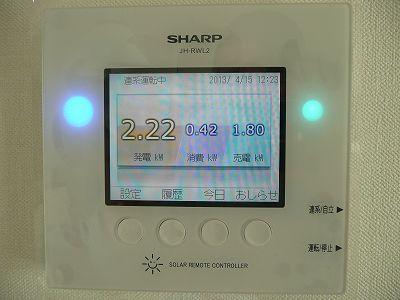 太陽光発電のコントロールパネル
