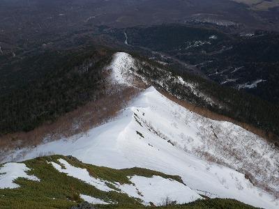 登ってきた雪稜
