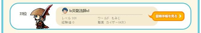 lx炎龍法師xl、もみじ鯖、カイザーランキング、22位、670.110