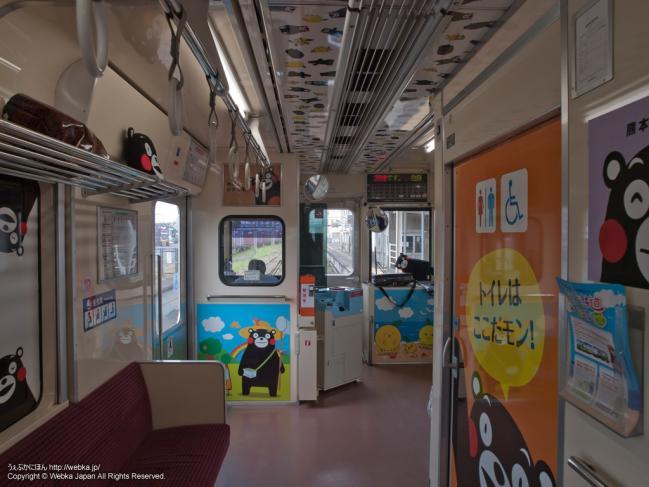 おれんじ鉄道×くまモンの列車の内装