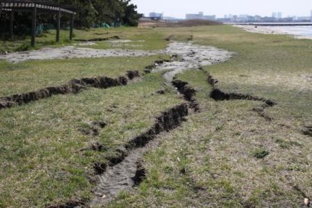 浜の地割れ