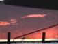 東北道車窓2、夕焼けと鳥の群れ