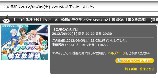 『輪廻のラグランジェ season2』 ニコ生第1話先行上映会、満足度で良かったが96.4%
