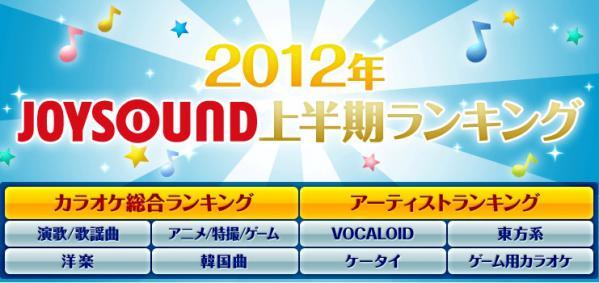 2012年カラオケJOYSOUND上半期ランキング発表 アニメ1位は「残酷な天使のテーゼ」 ボカロ1位は「千本桜」 東方1位は「チルノのさんすう教室」