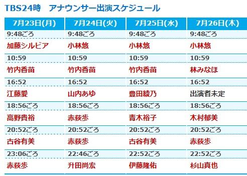 声優の竹達彩奈さんが7月26日放送のTBSの1分間番組「TBS24時」に出演