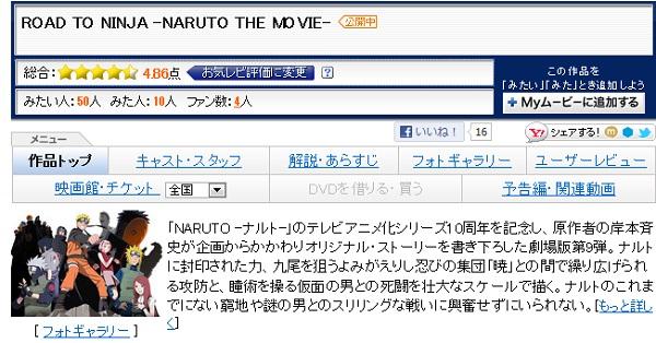 劇場版『NARUTO』yahooでの評価高いな アニメ映画で現在TOPか