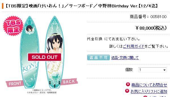 『けいおん!』 8万8千円のあずにゃんサーフボードが可愛すぎデカすぎワロタ