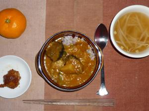 野菜カレー,鶏の唐揚げ,もやしのスープ,みかん
