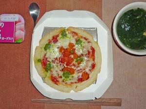 ピッツァ・マルゲリータ,ほうれん草のスープ,ヨーグルト