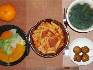 ペンネアラビアータ,温野菜サラダ,つくね×2,ほうれん草のスープ,みかん