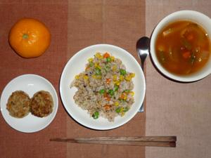 ミックスベジタブルペッパーチャーハン,豆腐バーグ×2,ミネストローネスープ,みかん