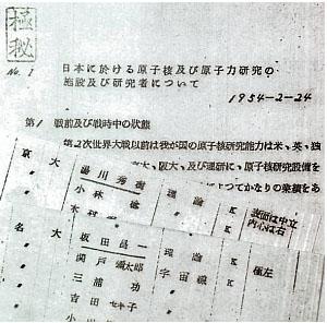 blog 日本の原子核研究者を思想選別した文書。
