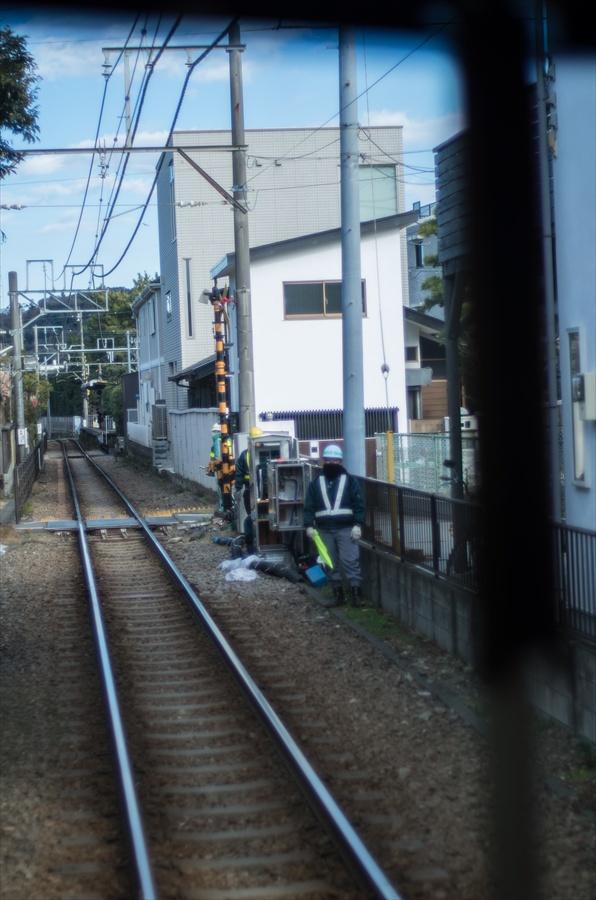 江ノ電車内から撮影保線員12