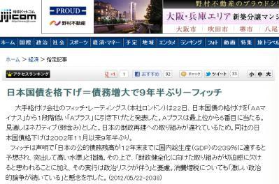 日本国債を格下げ=債務増大で9年半ぶり-フィッチ