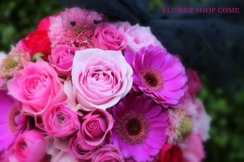 ガーリー ピンク かわいい ラウンドブーケ