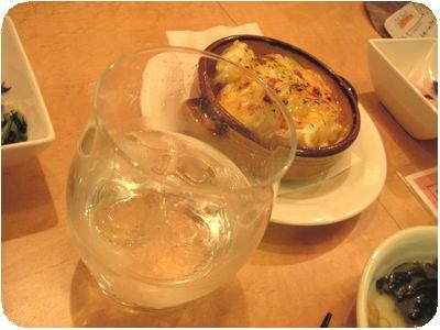 淡路のひだまり(玉ネギ焼酎)、ポテトと玉ネギのチーズ焼
