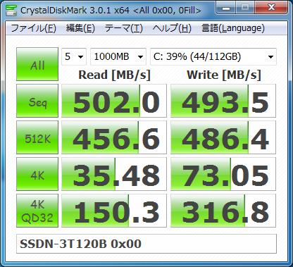CrystalDiskMark 3.0.1c 0 Fill SSDN-3T120B