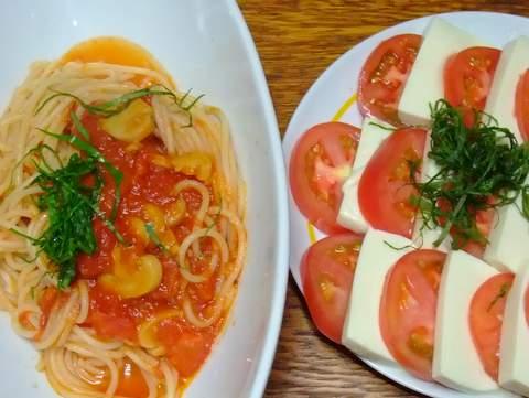 トマトのスパゲティと豆腐サラダ