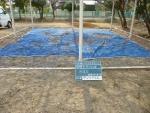 幼稚園、砂場清掃掃除。作業前