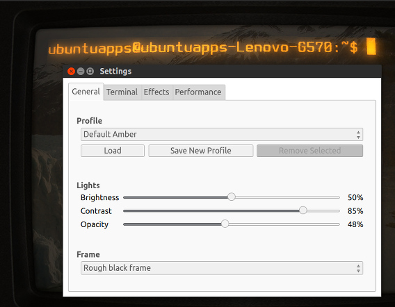 Cool Retro Term Ubuntu 端末エミュレーター プロファイルの編集