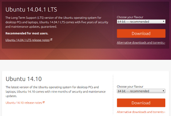 Ubuntu 14.10 インストール ISOイメージ ダウンロード