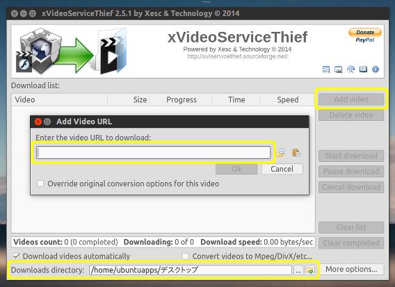 xVideoServiceThief Ubuntu 動画 ダウンロード URLのコピーペースト