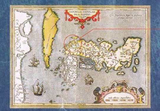 ポルトガルの宣教師が作成し16世紀後半にヨーロッパで出版された地図。Hiwami(石見国)とその上にラテン語でArgeni Fodeinae銀鉱山との記載が