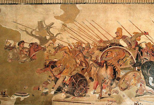 アレクサンダー大王 イッソスの戦いの一部 もっと大きなモザイク画です